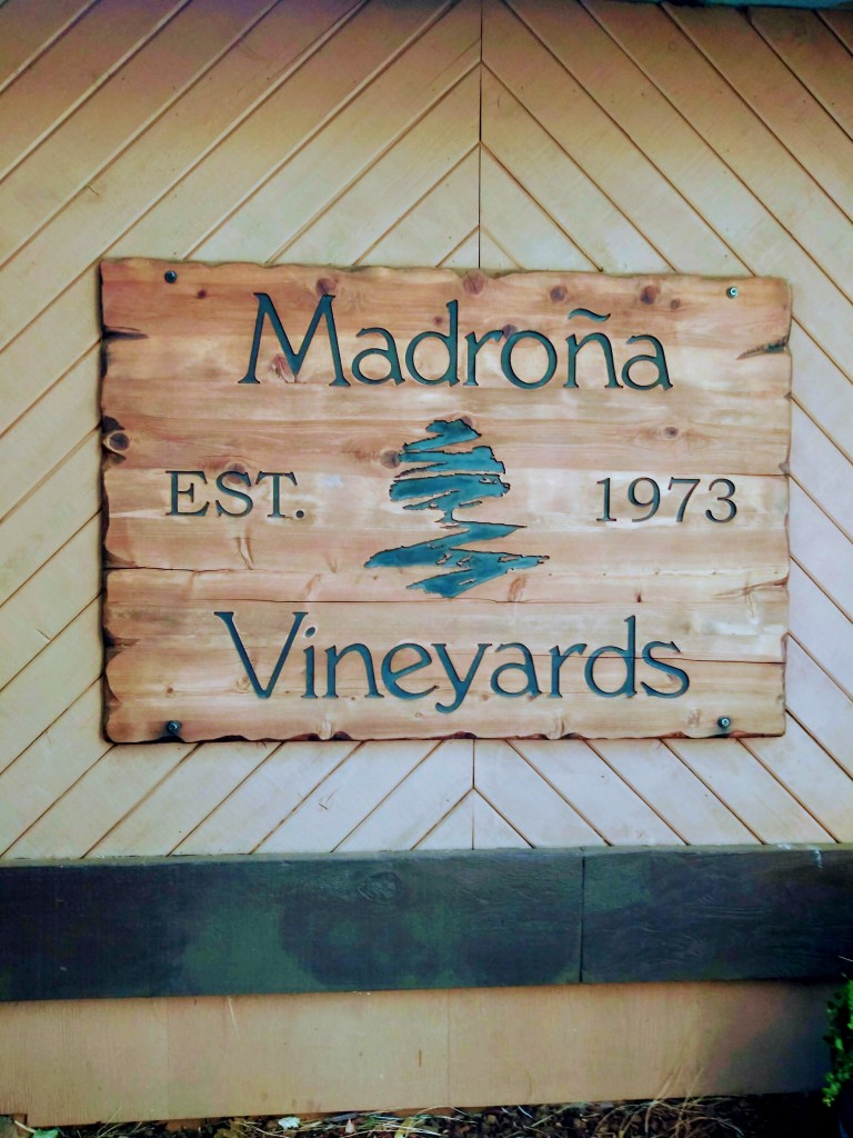 Madrona vineyards sign.
